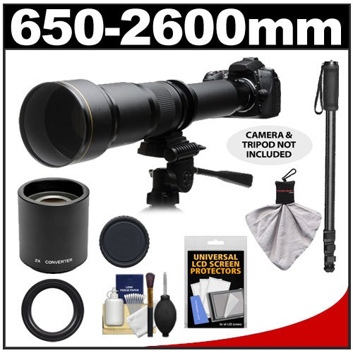 Rokinon 650-1300Mm F/8-16 Telephoto Zoom Lens With 2X Teleconverter (=650-2600Mm) + Monopod Kit For Pentax K-30, K-7, K-5, K-01, K-R Digital Slr Cameras