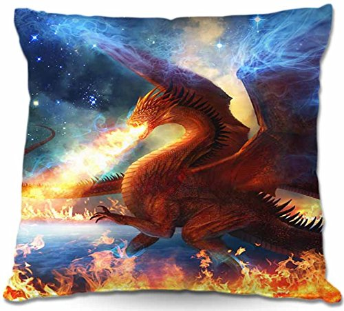 Decorative Smooth Woven Linen Couch Throw Pillow From Dianoche Designs By Philip Straub Unique Bedroom, Living Room And Bathroom Ideas Lord Of The Celesetial Dragons