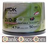 Tub of 50 RiTEK F1 - TDK DVD-R 4.7GB 16X Rimage EVEREST recommended compatible THERMAL Printable White Top Full Face spindle 50 pack NOT* for inkjet (EAN 4902030325404)