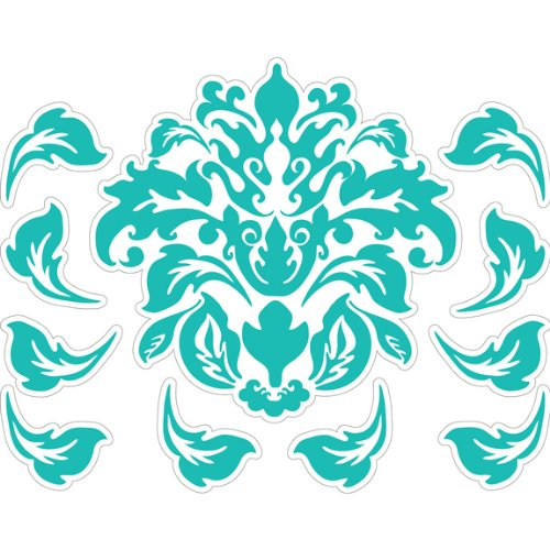 Teal And White Modern Deco Damask Peel & Stick Wall Decor Stickers front-1007984