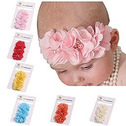 ROEWELL® Cute 6 Pcs Baby\'s Headbands Girl\'s Hair Bows Chiffon Hairband(6 Pack)