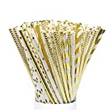Paper Straws 125 Pieces JIANFA-Food Grade Gold Foil Paper Straw Biodegradable Straw for Birthdays,Christmas, Weddings, Baby Showers, Celebrations and Parties