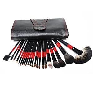 22 Pcs Superior Professional Soft Cosmetic Makeup Brush Set Pouch Bag Case New(black_red)