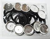 手芸 クラフト アクセサリパーツ 金具 皿付き ヘアゴム お徳用10個セット (25mm, ブラック/ブラウン MIX)
