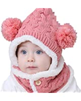 Winter Warm Girls Wool Hat/Scarf Set Knitted Hat Scarf/Bib With Buttons Red&White