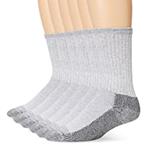 Fruit of the Loom Men's Six-Pack of Heavy-Duty Reinforced Crew Socks