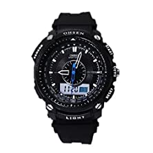 buy Black Lcd Digital Date Day Dual Core Sport Rubber Stopwatch Mens Watch