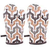 Suam Cotton Brown Printed Gloves Pack Of 2