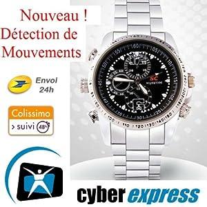 Montre Caméra Cachée Espion 8 Go HD 1280x960 Modèle Sport M2 détecteur de mouvement