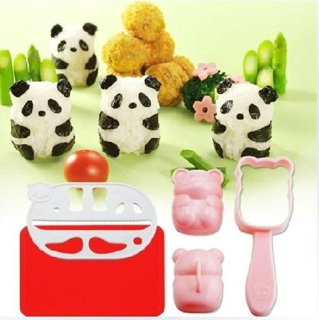 Wocuz New Bento Accessories Rice Ball Mold Mould with Nori Punch Sushi Panda Shape