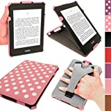 IGadgitz Pink with White Polka Dots PU 'Heat Molded' Leather Case Cover for Amazon Kindle Paperwhite 2012 & 2013 versions 3G 6 Display Wi-Fi 2GB. With Sleep/Wake Function & Integrated Hand Strap