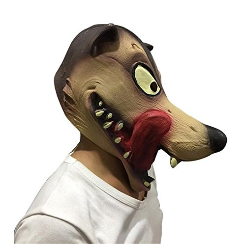 Halloween Novelty Deluxe Latex Mask Hungry Wolf Head Mask Costume Party (Giraffe Deluxe Latex Mask)