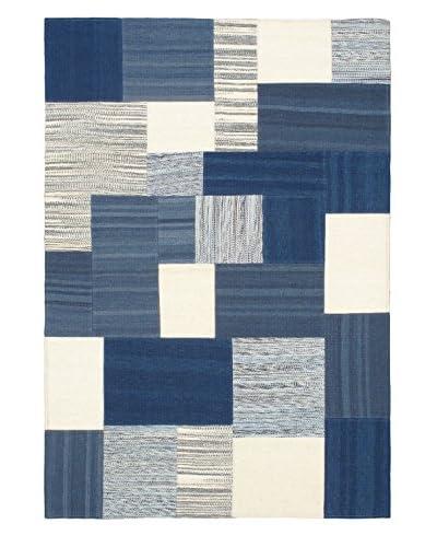 Hand Woven Mosaico Wool Kilim, Blue, 4' 7 x 6' 7