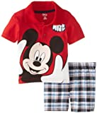 Disney Baby-Boys Infant Mickey Polo Plaid Short Set, Red, 12 Months