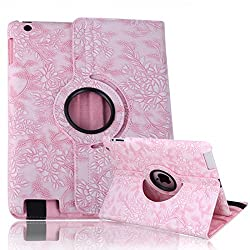 HDE iPad 2/3/4 Tablet Case Rotating Flip Stand Folding Magnetic Cover Designer for Apple iPad 2/3/4 (Pink Flower)