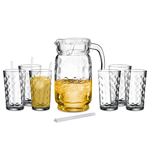 60 Oz Glass Pitcher with Lid and Drinking Glasses Set - Decorative Jug and Six 12 Oz. Tall Cups (Dishwasher Safe) (12 Cup Water Pitcher compare prices)
