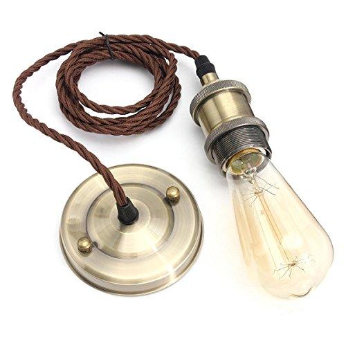 KINGSO-Vintage-Hanging-Kit-luce-moderna-del-pendente-Retro-Style-industriale-E26-E27-base-in-ottone-supporto-della-lampada-2-Meter-3-fili-cordone-tessuto-cavo-soffitto-in-bronzo-Rose-Antique