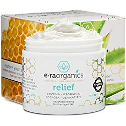 Era Organics Eczema & Psoriasis Cream 4oz Advanced Healing Moisturizer for Dry, Sensitive Skin with Aloe Vera, Shea Butter, Manuka Honey & More. Non-greasy Treatment for Instant & Long Term Relief