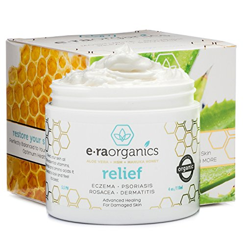 Psoriasis & Eczema Cream 4oz Advanced Healing Non-Greasy Moisturizer with Organic Aloe Vera, Manuka Honey, Hemp Oil & More. Best Natural Moisturizer for Dermatitis, Rosacea, Shingles, Dry, Itchy Skin (Natural Eczema Cream compare prices)
