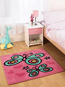 Childrens Kids Rug in Pink colour Butterfly design 90 x 90 cm (3' x 3') from Lord of Rugs