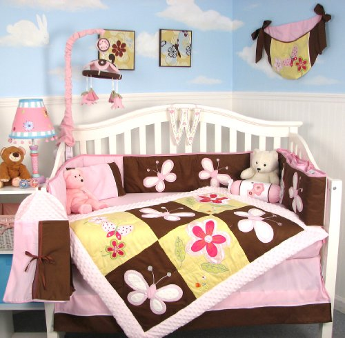 SoHo Delightful Garden Baby Crib Nursery Bedding Set 13 pcs included Diaper Bag with Changing Pad & Bottle Case