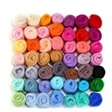 MOMODA 50 Colors Fibre Wool Yarn Roving for Needle Felting Hand Spinning DIY Craft Materials (Color: 50)