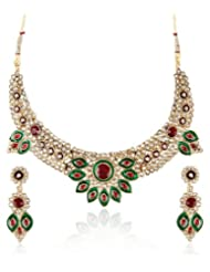 Shining Diva Floral Green And White Kundan Necklace & Set For Women