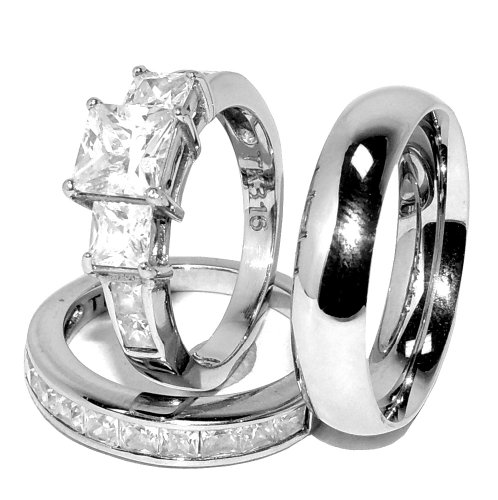 His/ Hers 3 Pcs Stainless Steel Princess Cut Cz Engagement Ring Set And Mens Matching Band