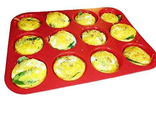 Keliwa 12 Cup Silicone Muffin & Cupcake Baking Pan / Non – Stick / Dishwasher – Microwave Safe /  21 FREE RECIPES