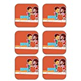 MeSleep Happy Rakhi Wooden Coaster-Set Of 6
