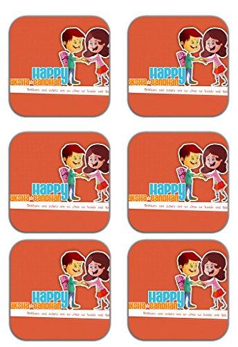 MeSleep Happy Rakhi Wooden Coaster-Set Of 6