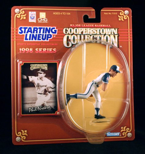 PHIL NIEKRO / ATLANTA BRAVES 1998 MLB Cooperstown Collection Starting Lineup Action Figure & Exclusive Trading Card