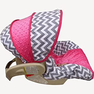 Amazon Grey Chevron With Hot Pink Infant Car Seat