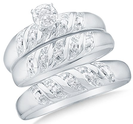 Size 6 - 10k White Gold Diamond Round Center Mens And Ladies Couple His & Hers Trio 3 Three Ring Bridal Matching Engagement Wedding Ring Band Set (0.07 cttw.) - SEE