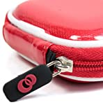 - RED Color with White Trim Premium Hi-Tech Design Bluetooth Head Set Pouch Carrying Case for Plantronics M55 M25 Marque 2 M165 K100 M100 Explorer 395 Hands-Free Head-Set (+ 1pc Name TAG) -- Best Seller on Amazon! (IMPORTANT note: color of the actual item may differ from the pictures shown due to computer/tablet screen color variation)