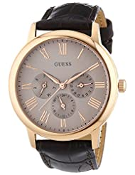 Guess Mens Gents W0496G1 Wafer Gents Rose Gold Tone Multi-Dial Brown Leather Strap Wrist Watch