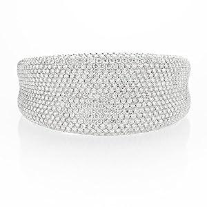 Diamond 18k White Gold Bangle Bracelet
