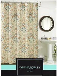 Cynthia Rowley Ischia Paisley Fabric Shower Curtain In Shades Of Burnt Orange