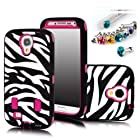 Cocoz® Deluxe Printed Hard Soft High Impact Hybrid Armor Defender Case Combo for Samsung Galaxygalaxy S4 S Iv I9500 ,Verizon, Sprint, (Iphone 5c, Zebra Hot Pink)--0003
