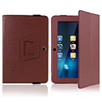"""Crazycity PU Leather Slim 7 inch tablet Folio Protective Cover Case with Stand for 7"""" Afunta Q88, AGPtek, Alldaymall Q88, Axis, Chromo, Dragon Touch A13 Q88,Y88, Tagital with Dual Camera Tablet PC, ZTO N1, ZTO N1 plus, Zeepad 7.0 Only (Q88:brown) from Cra"""