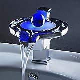 Derpras RGB LED Color Changing Bathroom Hot/Cold Mixer Basin Sink Faucet Waterfall Waterfall Lavatory Mixer Faucet Tap Temperature Sensor 3 Colors
