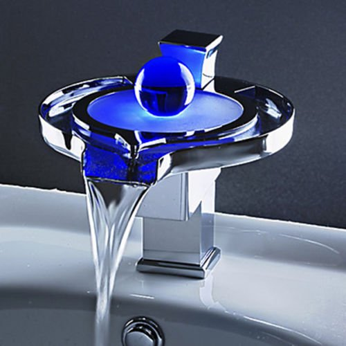 Derpras LED Sink Faucet,3 Colors Changing,Water Power,Bathroom ...