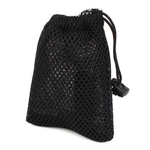 Nylon Drawstring Closure MP3 MP4 Mesh Pouch Bags Holder 12x9cm Black