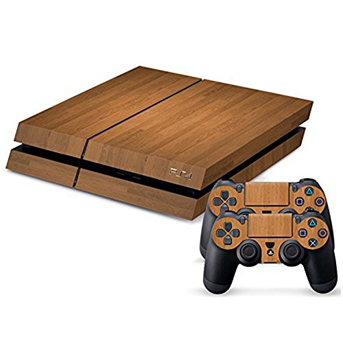 Hibote Vinyl Decal Full Skin Faceplates Sticker Set For Sony PlayStation 4 PS4 Console And 2 Remote Controllers Wood