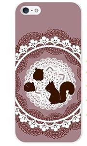 iPhone5用ハードケースカバー アイフォンファイブ リスとハムスター 茶色/ブラウン レース カワイイ アイフォーン 液晶保護フィルムシート付き スマホケース