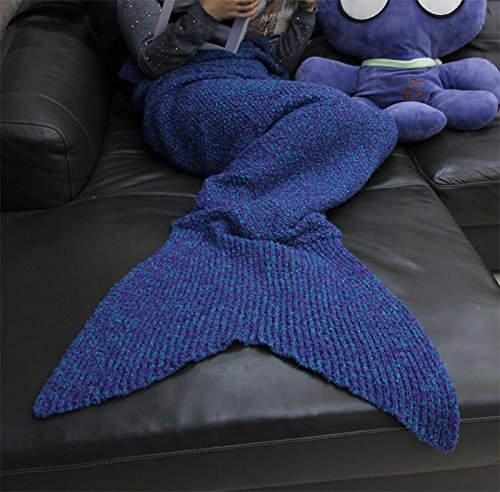 "Hughapy® Teen Adult Crochet Mermaid Tail Blanket Snuggle Mermaid Cozy 71""x32"" color Blue and Purple"