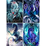 4 Pack 5D Full Drill Diamond Painting Kit, KISSBUTY DIY Dragon Diamond Rhinestone Painting Kits for Adults and Beginner Diamond Arts Craft Home Decor, 15.8 X 11.8 Inch (Dragon Diamond Painting)