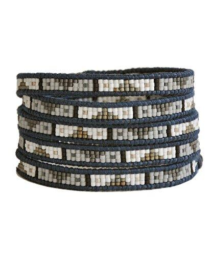 (チャンルー) CHAN LUU 正規品保証書付き  BSM-1567 メンズ 5連ラップブレスレット ガラスビーズトライバル / WHT MX-NDBL