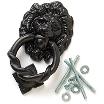 Bulk Hardware 160mm Lions Head Antique Door Knocker - Black by Bulk Hardware