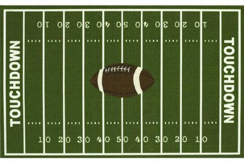 Football Field Area Rug, 3-footx5-foot, GREEN